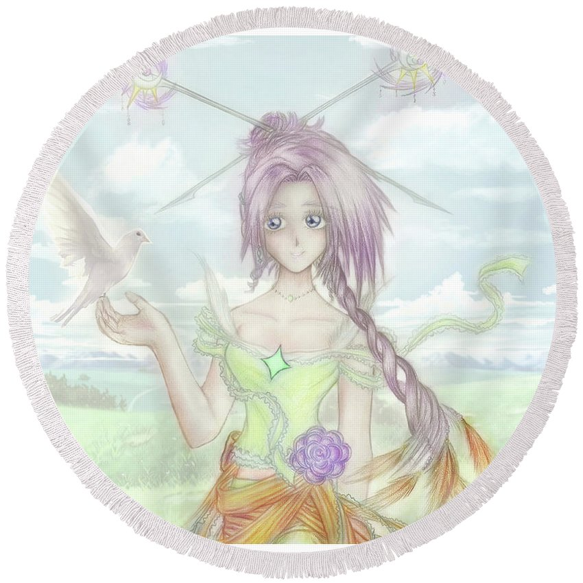 Altiana Round Beach Towel featuring the mixed media Princess Altiana Colour by Shawn Dall