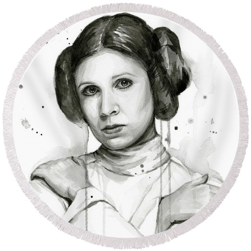 Leia Round Beach Towel featuring the painting Princess Leia Portrait Carrie Fisher Art by Olga Shvartsur