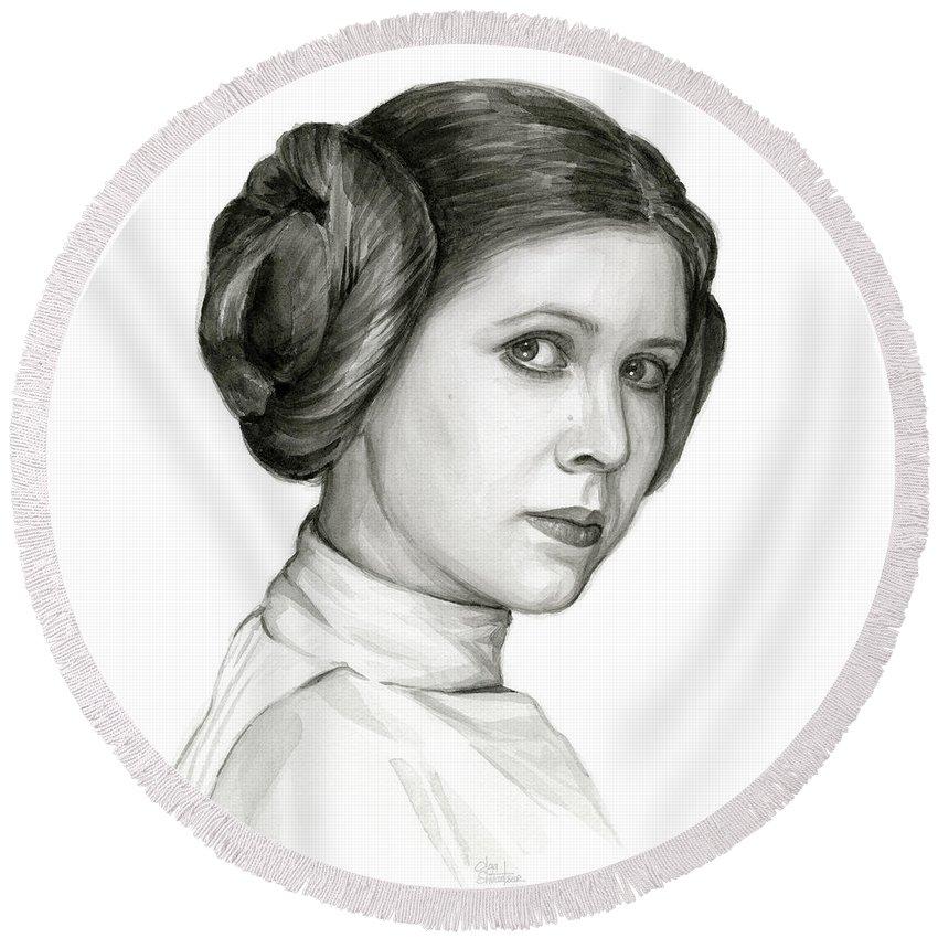 Leia Round Beach Towel featuring the painting Princess Leia Watercolor Portrait by Olga Shvartsur