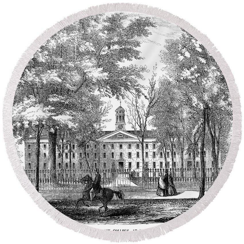 1853 Round Beach Towel featuring the photograph Princeton College, 1853 by Granger