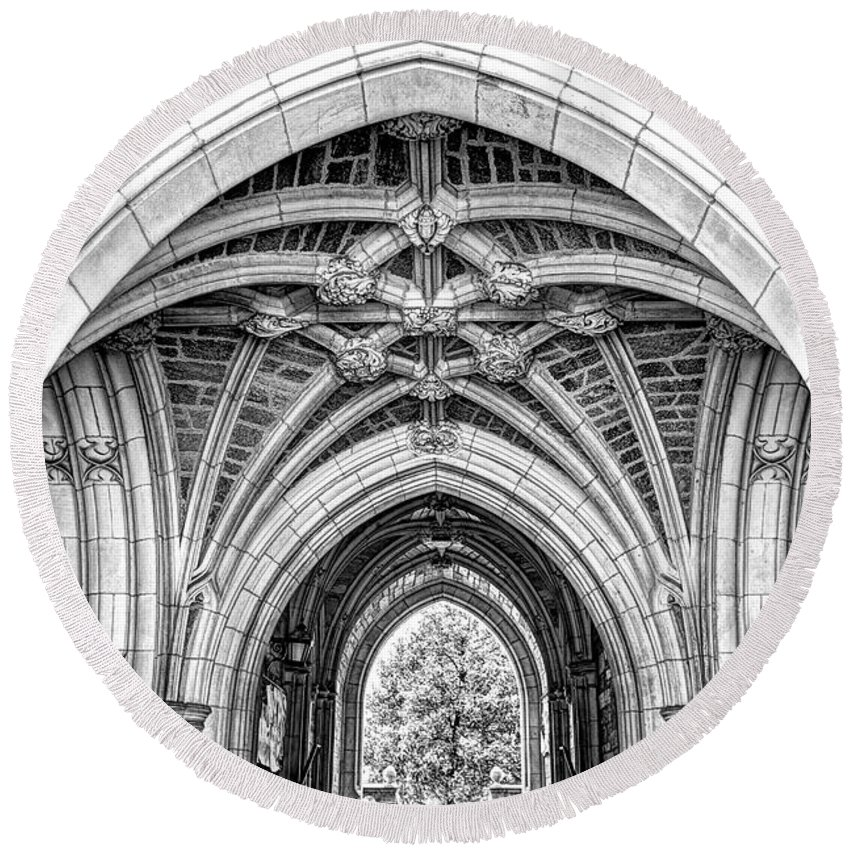 Recent Round Beach Towel featuring the photograph Princeton University Arched Walkway by Geraldine Scull