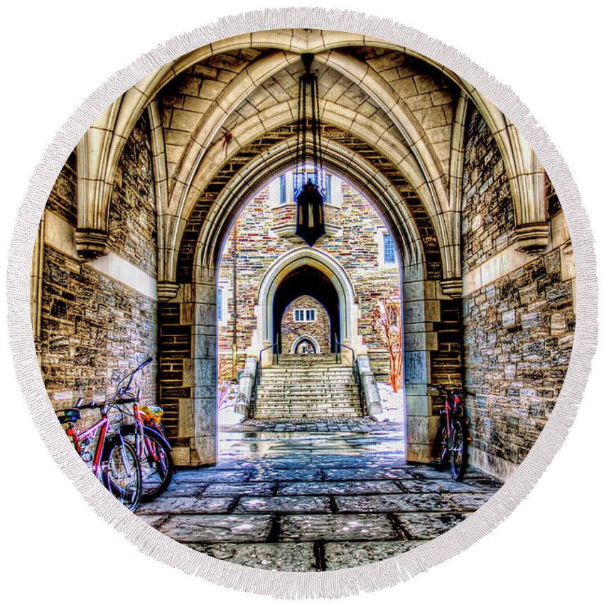 Recent Round Beach Towel featuring the photograph Princeton University Arches And Stairway To Education by Geraldine Scull