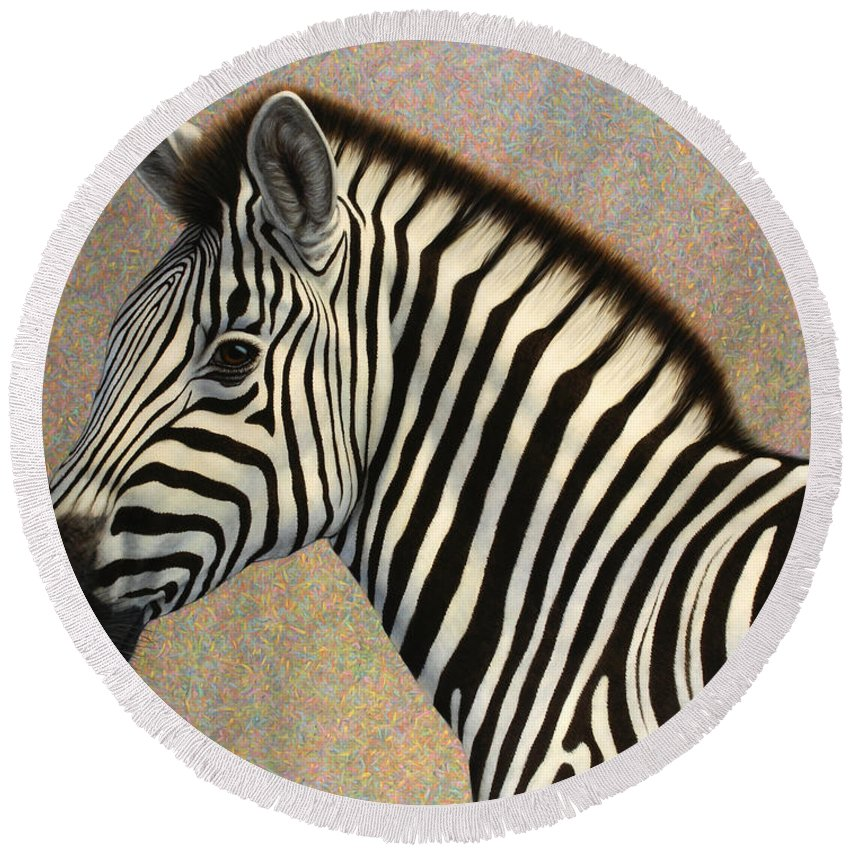 Zebra Round Beach Towel featuring the painting Principled by James W Johnson