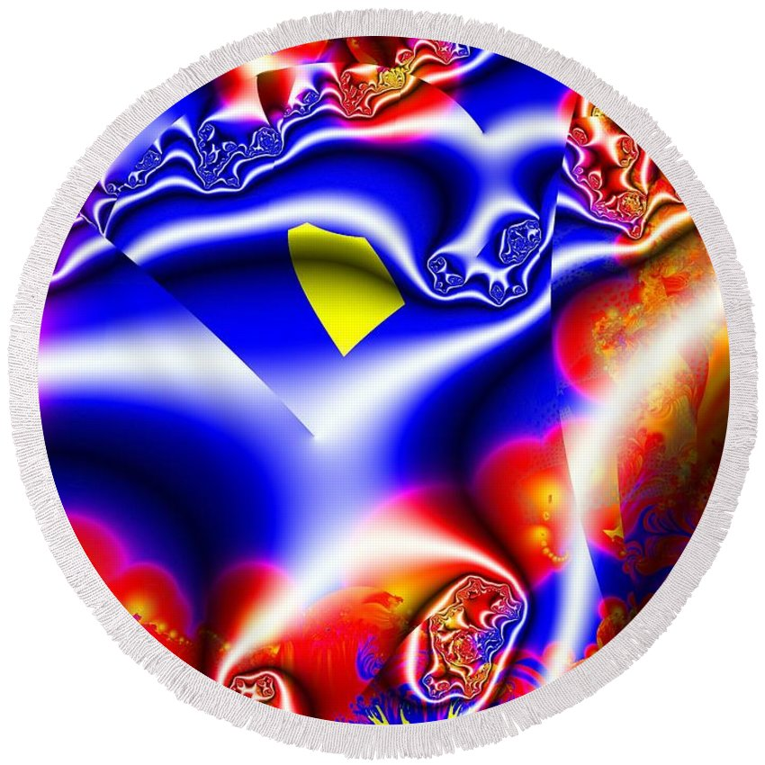 Fractal Round Beach Towel featuring the digital art Printed Crinkled Chiffon One by Ron Bissett