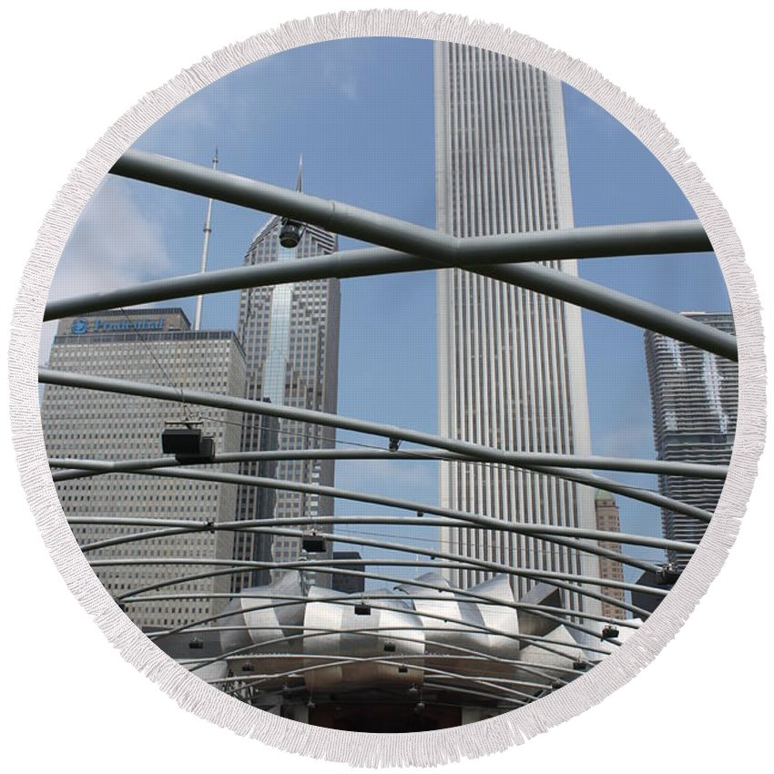 Pritzker Pavilion Round Beach Towel featuring the photograph Pritzker Pavilion by Lauri Novak
