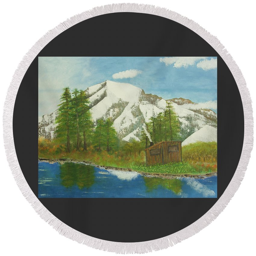 Nature Round Beach Towel featuring the painting Private Cabin by Neil Gallagher