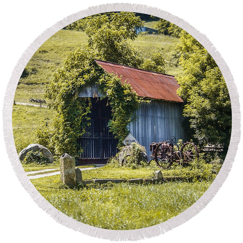 America Round Beach Towel featuring the photograph Private Covered Bridge by Jack R Perry