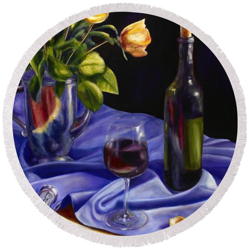Still Life Round Beach Towel featuring the painting Private Label by Shannon Grissom