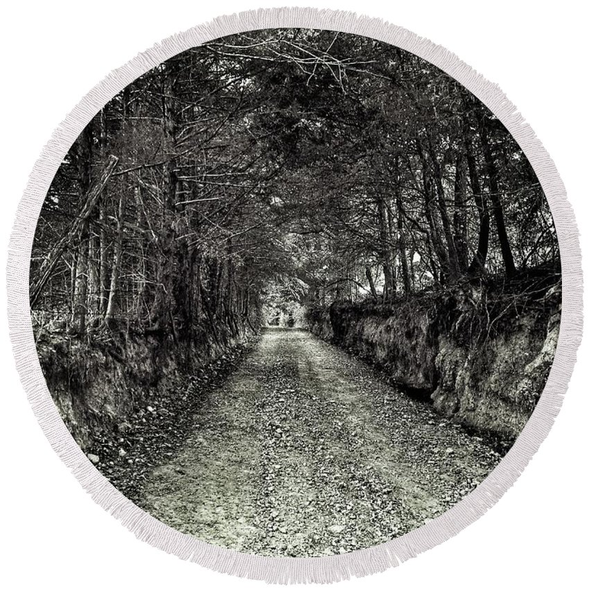 Tree Roots Round Beach Towel featuring the photograph Private Road B by John Myers