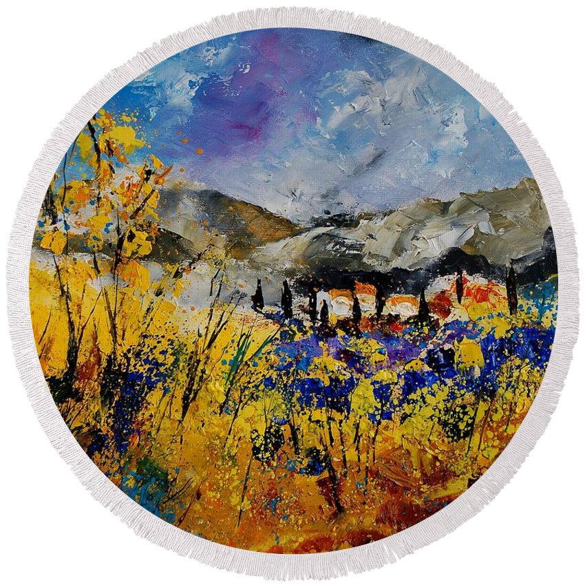 Poppies Artwork Round Beach Towel featuring the painting Procence 569011 by Pol Ledent