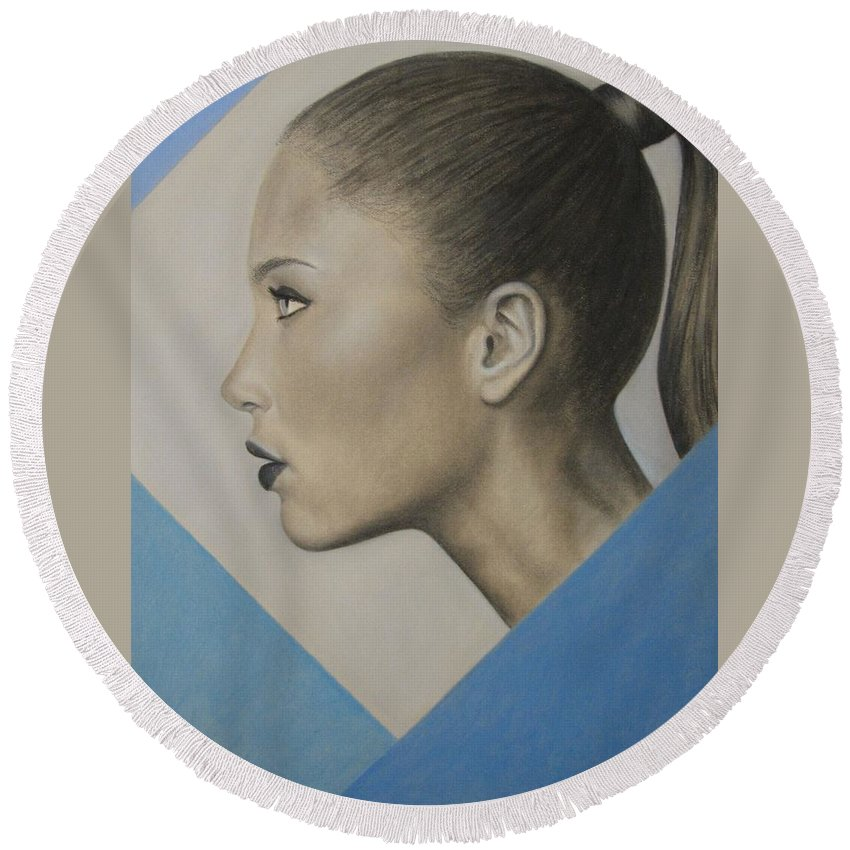 Woman Round Beach Towel featuring the painting Profile by Lynet McDonald