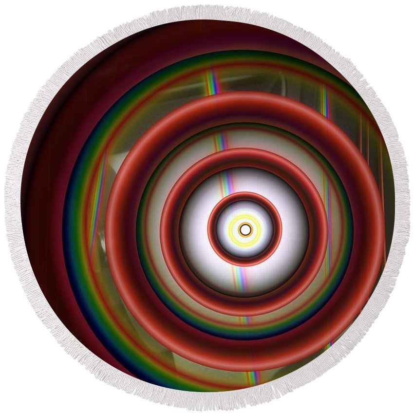 Abstract Round Beach Towel featuring the digital art Progression 1 by Ron Bissett