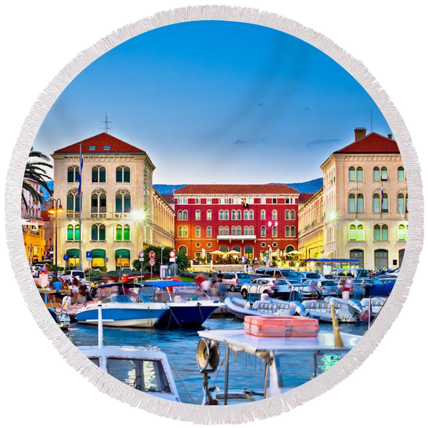 Split Round Beach Towel featuring the photograph Prokurative Square In Split Evening Colorful View by Brch Photography