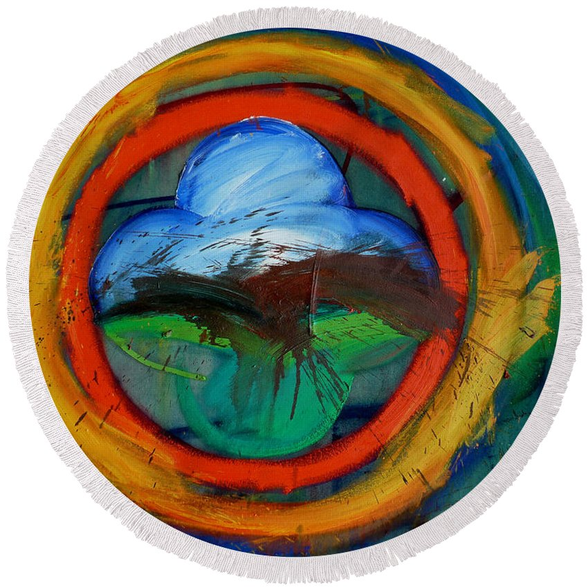 Landscape Round Beach Towel featuring the painting Promised Land by Charles Stuart