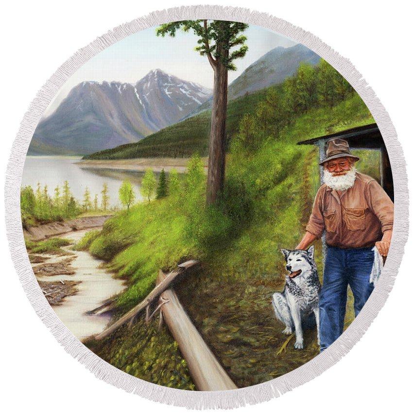 Prospector Painting Round Beach Towel featuring the painting Prospector And Best Friend by Guy C Lockwood