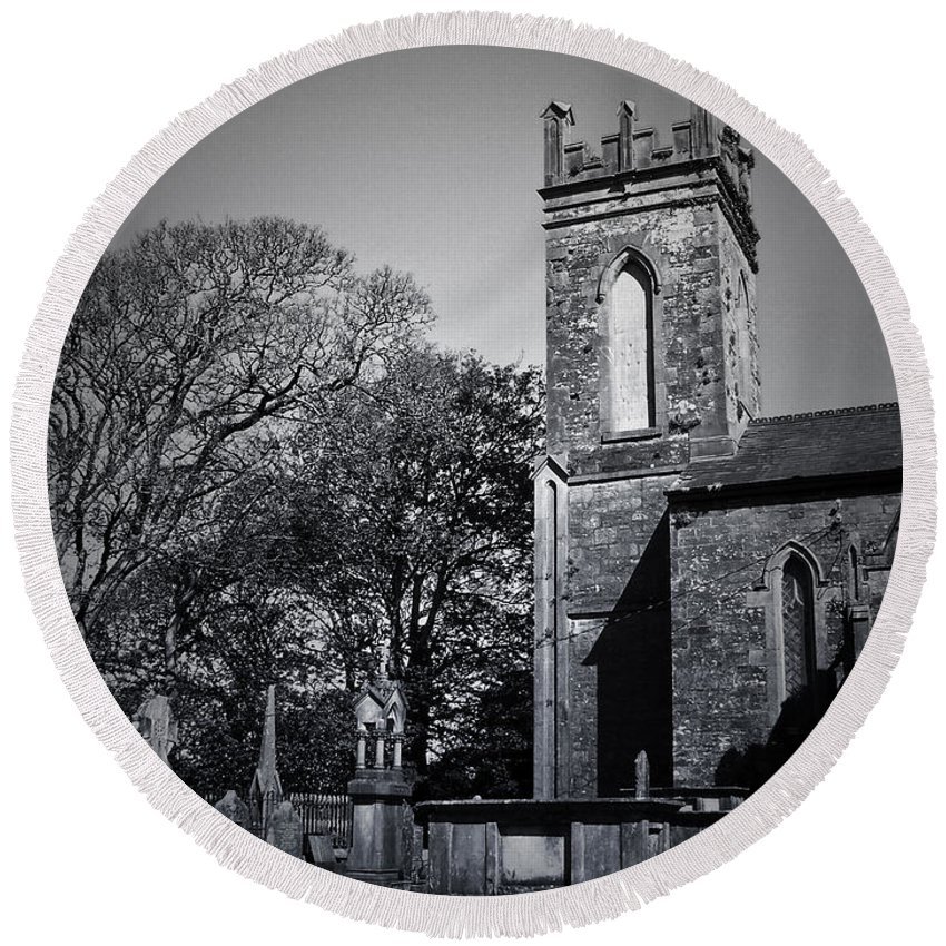 Irish Round Beach Towel featuring the photograph Protestant Church Macroom Ireland by Teresa Mucha