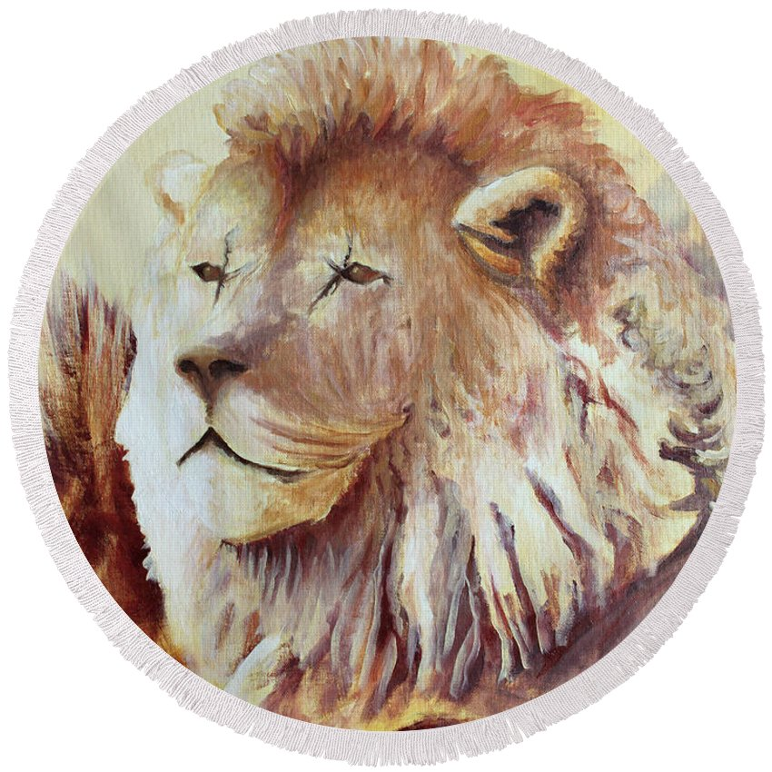 Animal Round Beach Towel featuring the painting Proud by Todd A Blanchard