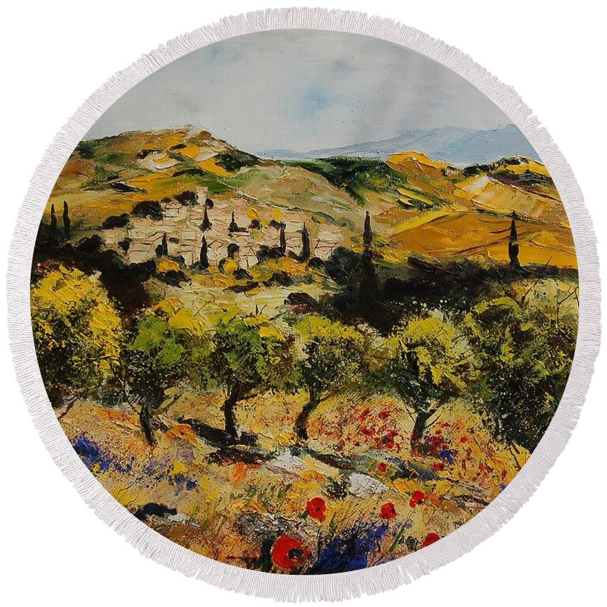 Provence Round Beach Towel featuring the painting Provence 10080 by Pol Ledent
