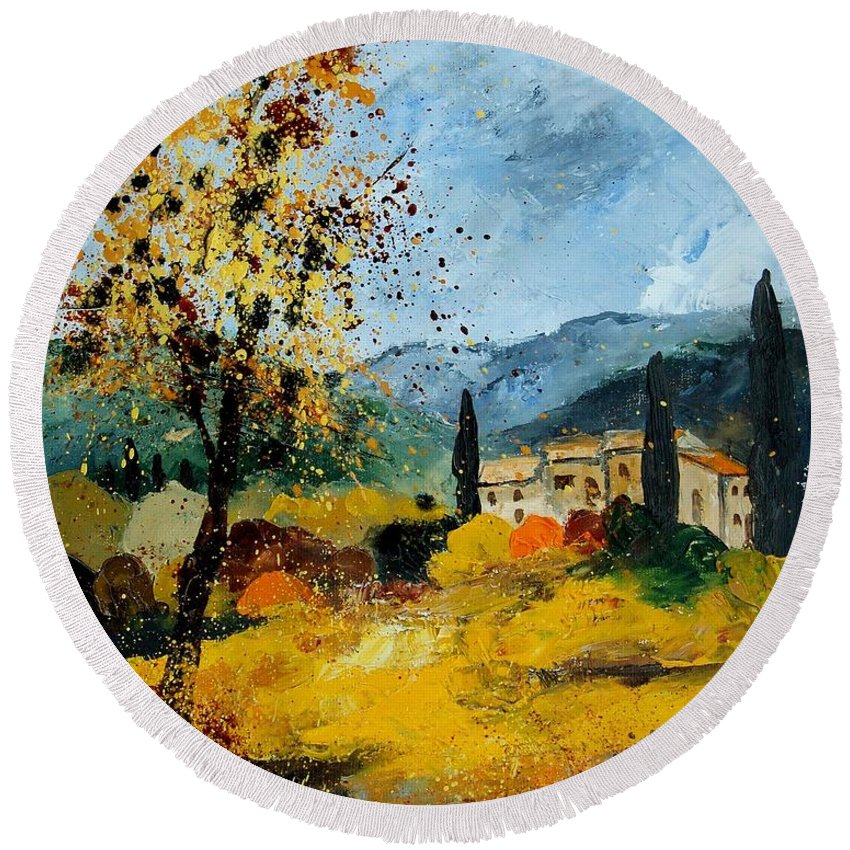 Provence Round Beach Towel featuring the painting Provence 45 by Pol Ledent