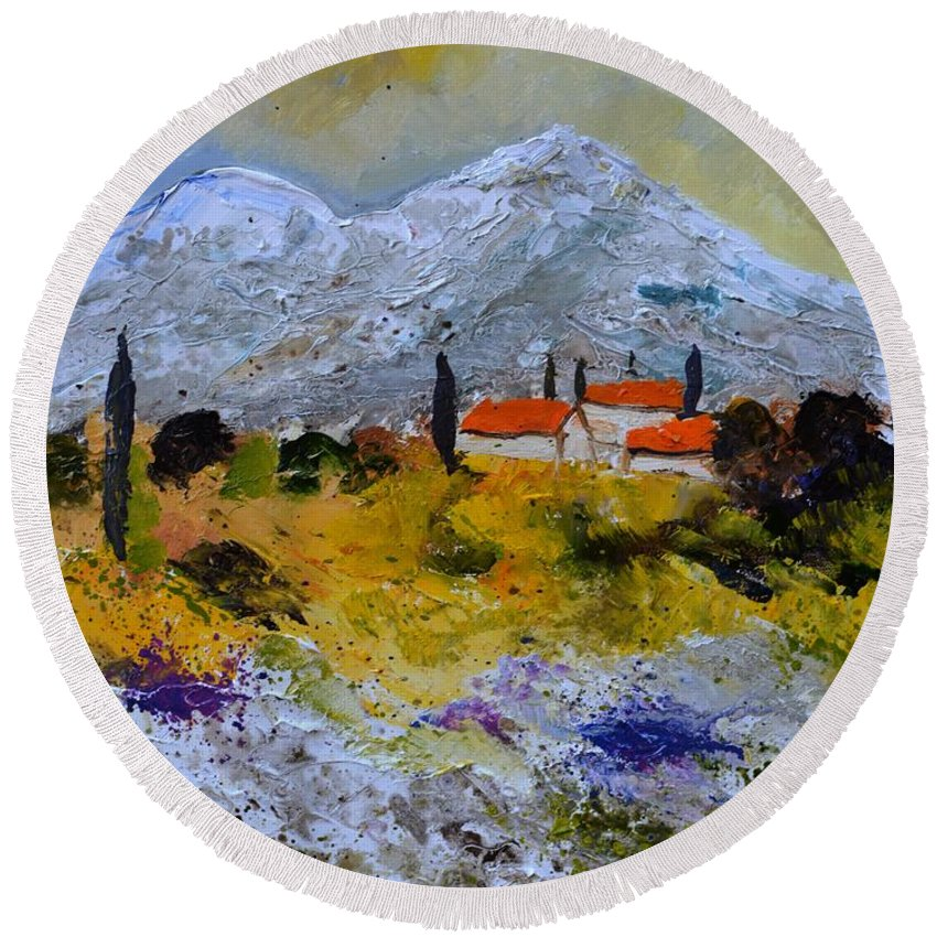 Landscape Round Beach Towel featuring the painting Provence 455140 by Pol Ledent