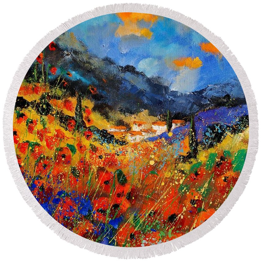 Round Beach Towel featuring the painting Provence 459020 by Pol Ledent