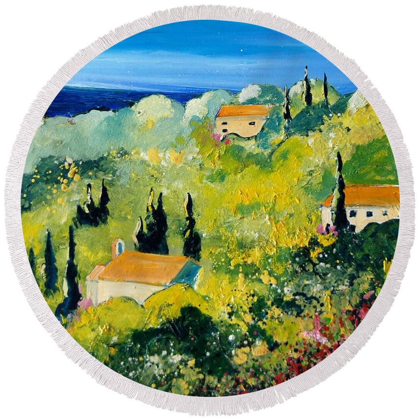 Village Round Beach Towel featuring the painting Provence 459070 by Pol Ledent