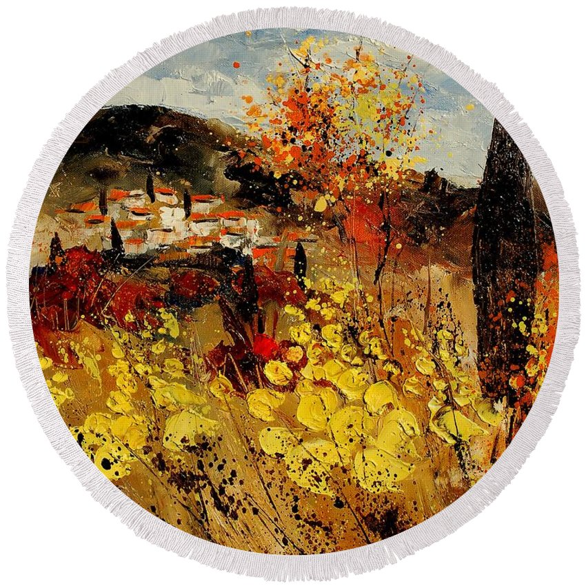 Provence Round Beach Towel featuring the painting Provence 459080 by Pol Ledent