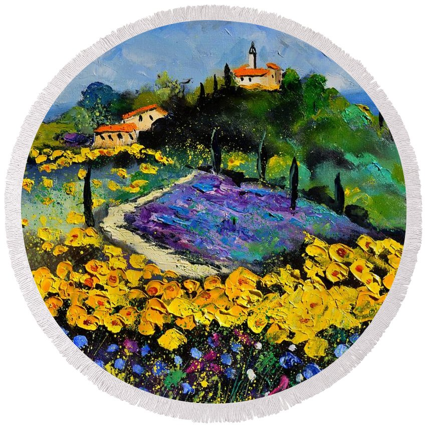 Landscape Round Beach Towel featuring the painting Provence 561140 by Pol Ledent