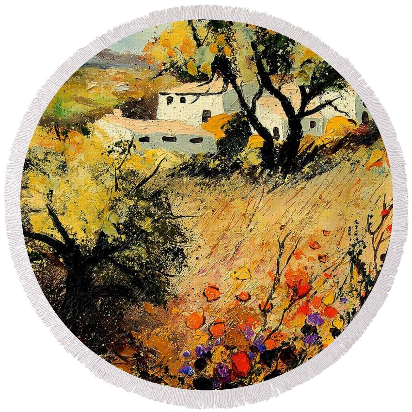 Provence Round Beach Towel featuring the painting Provence 56123 by Pol Ledent