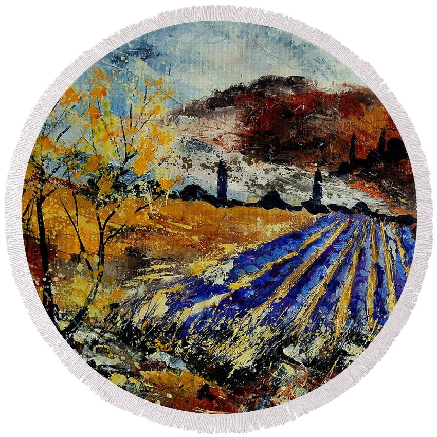 Provence Round Beach Towel featuring the painting Provence 564578 by Pol Ledent