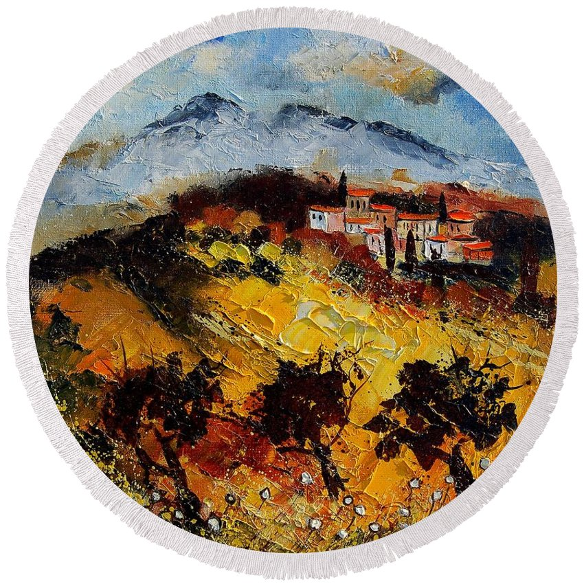 Provence Round Beach Towel featuring the painting Provence 5678952 by Pol Ledent