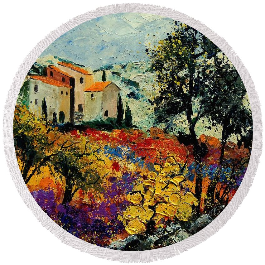 Provence Round Beach Towel featuring the painting Provence 56900192 by Pol Ledent
