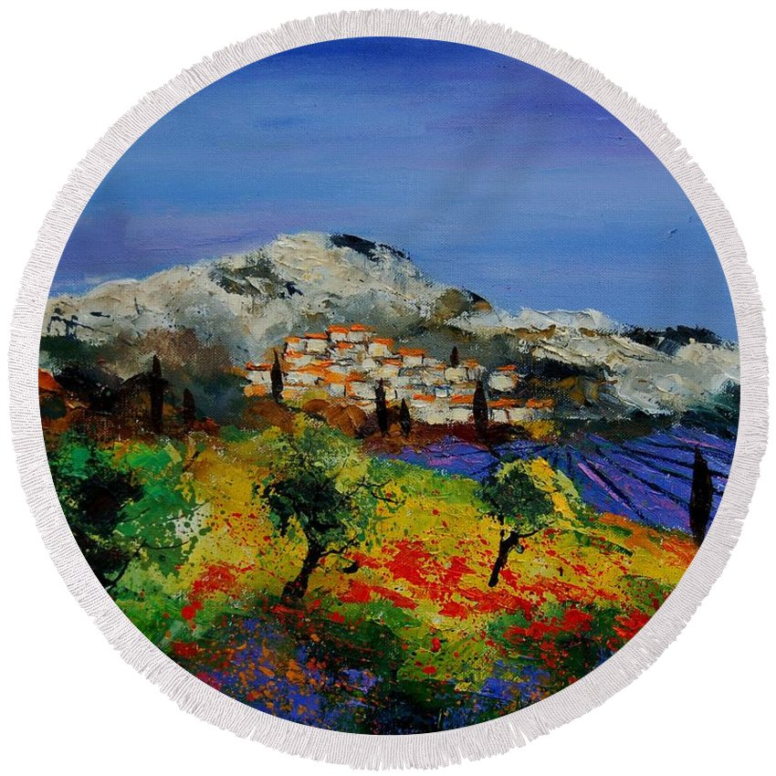Provence Round Beach Towel featuring the painting Provence 569010 by Pol Ledent