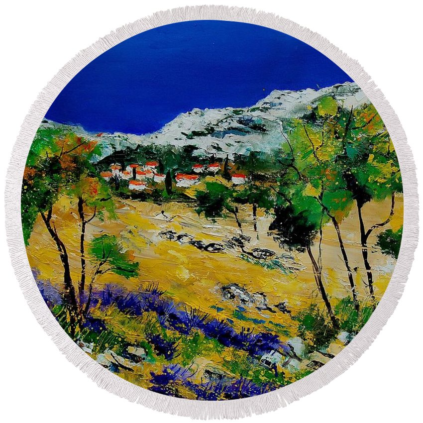 Provence Round Beach Towel featuring the painting Provence 569060 by Pol Ledent