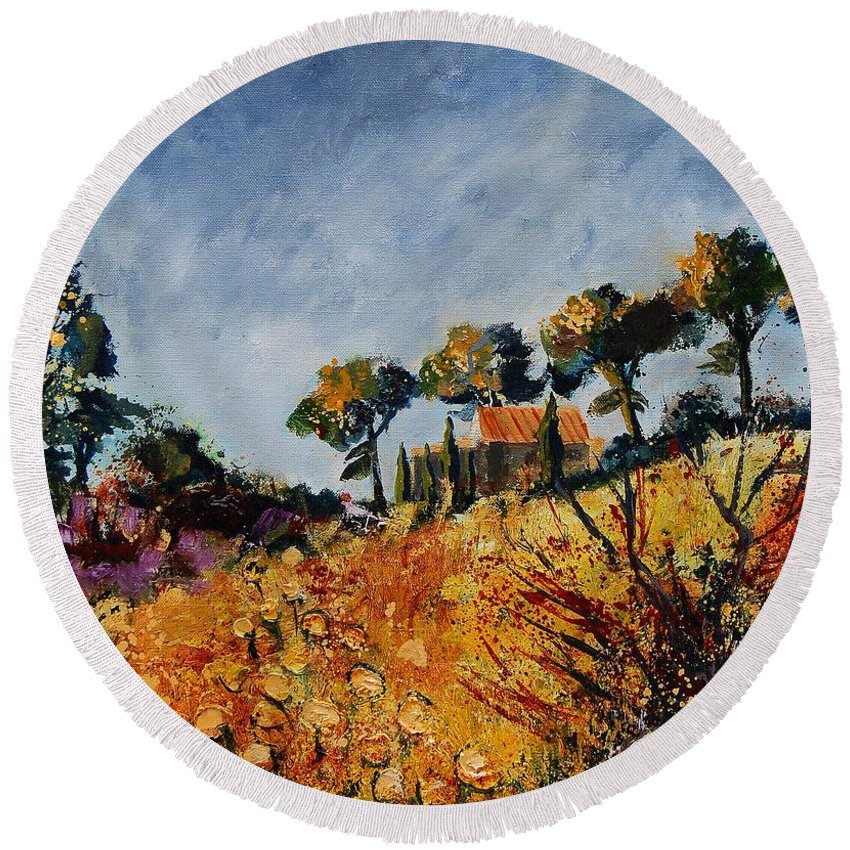 Provence Round Beach Towel featuring the painting Provence 6741254 by Pol Ledent