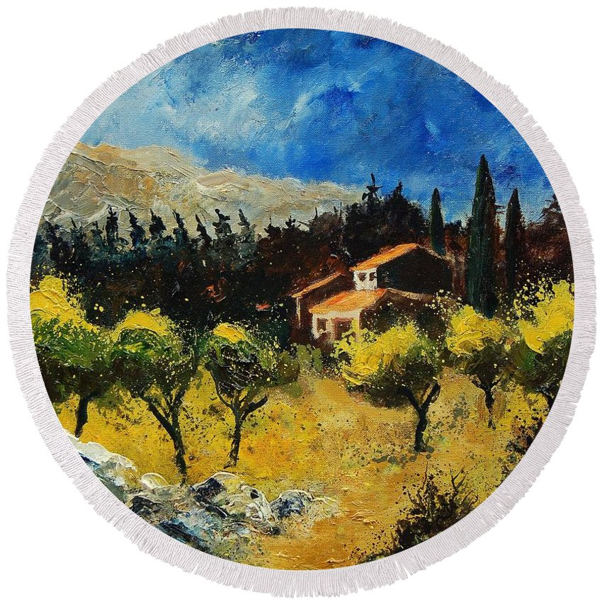 Provence Round Beach Towel featuring the painting Provence 678965 by Pol Ledent
