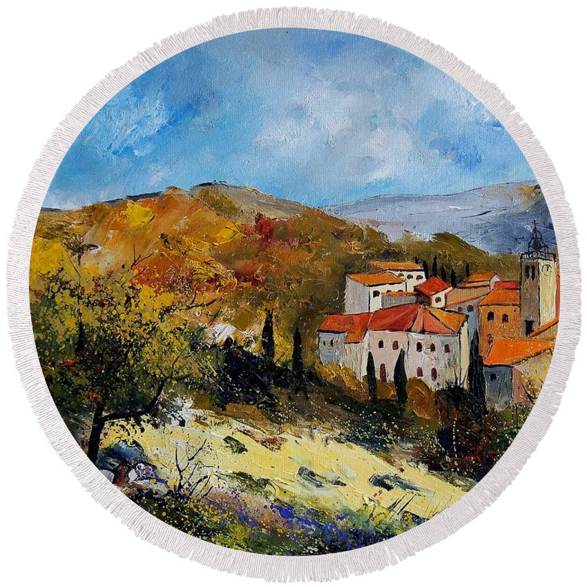Provence Round Beach Towel featuring the painting Provence 679050 by Pol Ledent