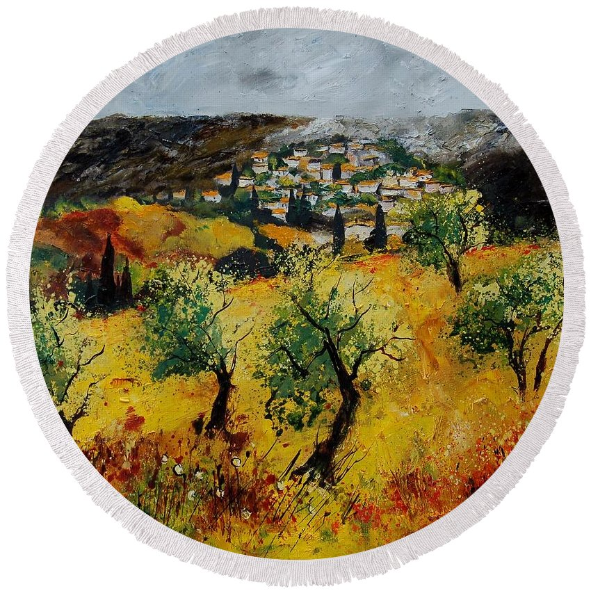 Provence Round Beach Towel featuring the painting Provence 789080 by Pol Ledent