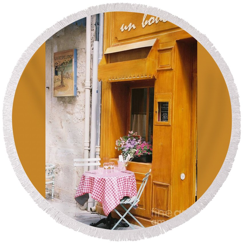 Cafe Round Beach Towel featuring the photograph Provence Cafe by Nadine Rippelmeyer