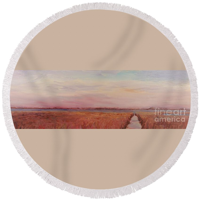 Landscape Round Beach Towel featuring the painting Provence Camargue by Nadine Rippelmeyer