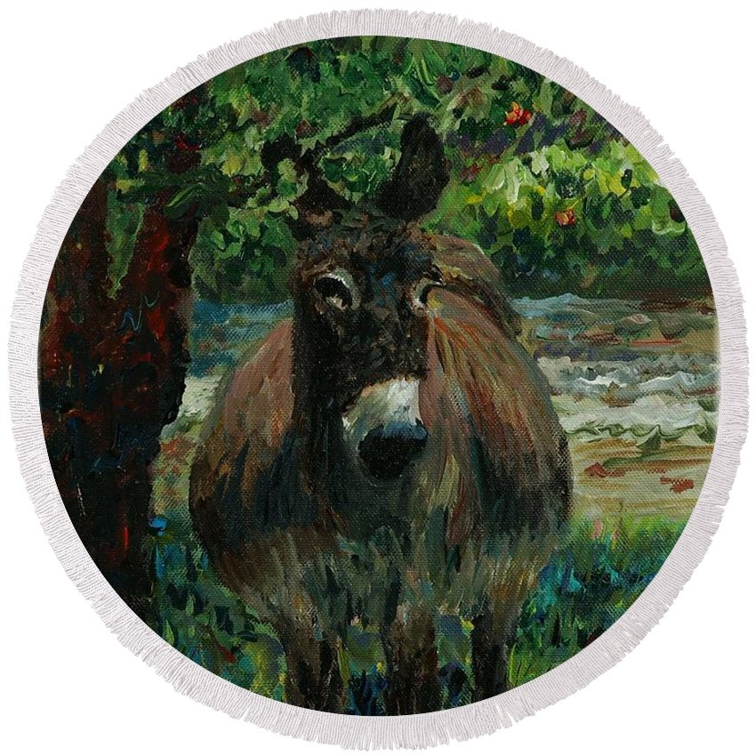 Donkey Round Beach Towel featuring the painting Provence Donkey by Nadine Rippelmeyer