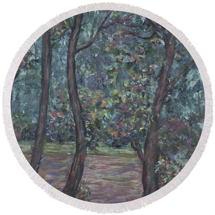 Landscape Round Beach Towel featuring the painting Provence Flowers by Nadine Rippelmeyer