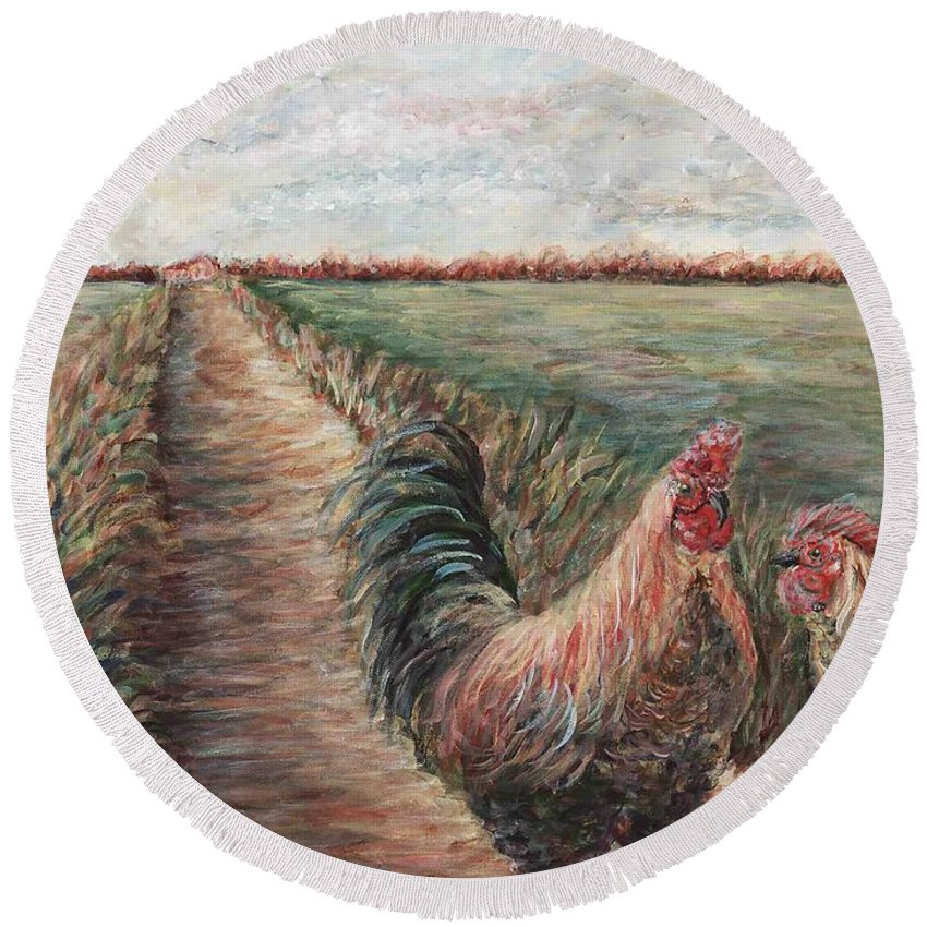 Provence Round Beach Towel featuring the painting Provence Roosters by Nadine Rippelmeyer