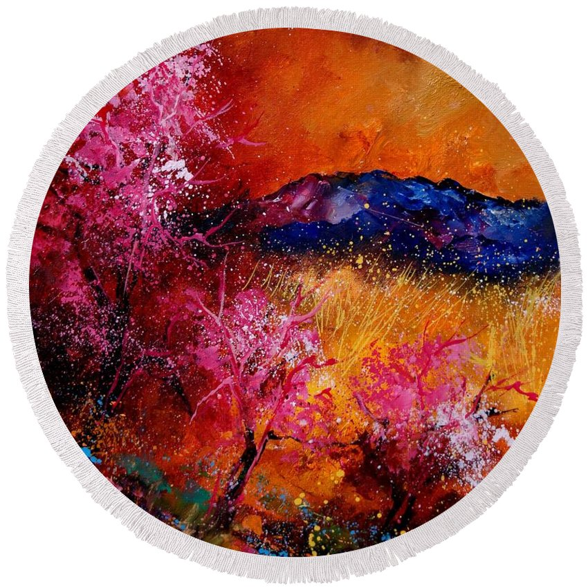 Provence Round Beach Towel featuring the painting Provence560908 by Pol Ledent