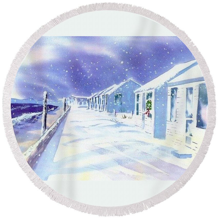Provincetown Round Beach Towel featuring the painting Provincetown Winter by Joseph Gallant
