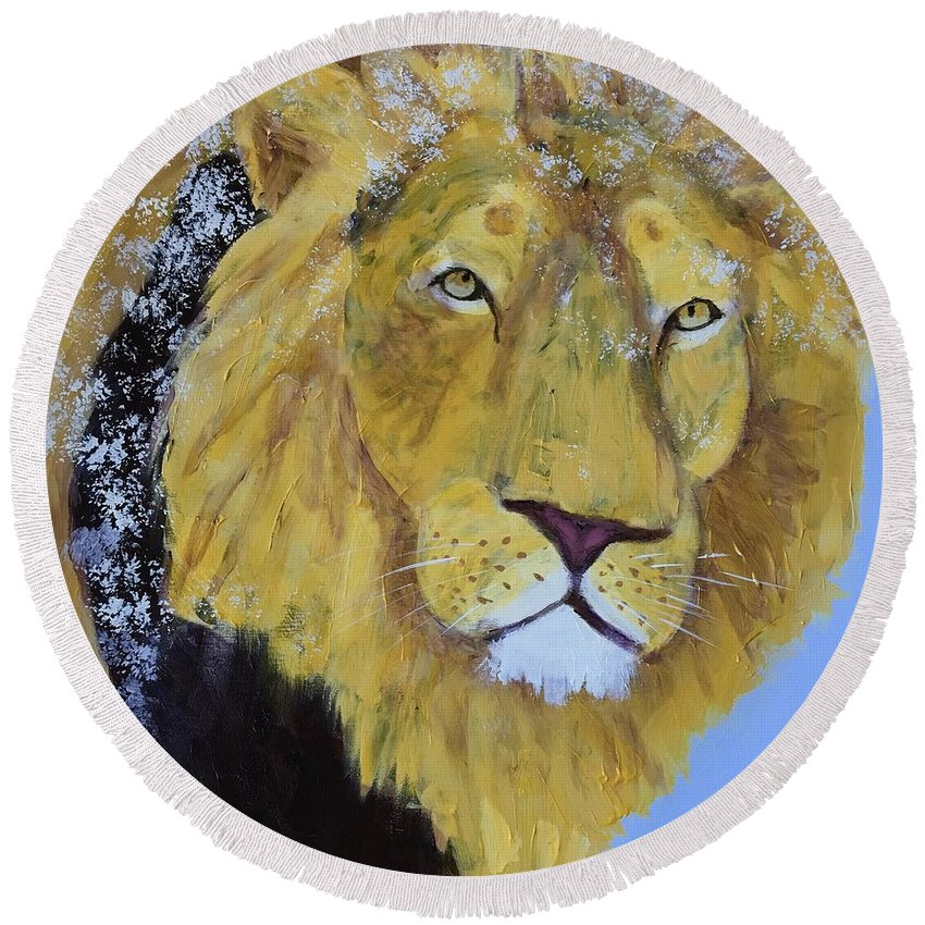 Lion Round Beach Towel featuring the painting Prowling Lion by Donald J Ryker III