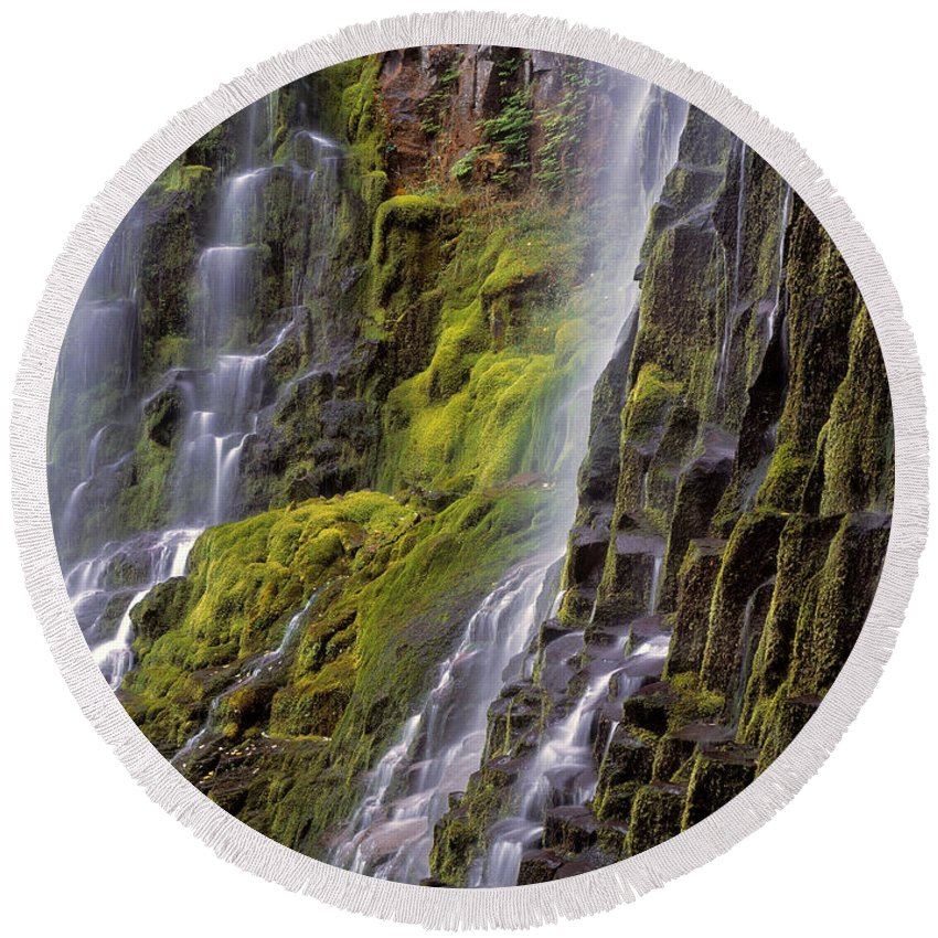 Proxy Falls Round Beach Towel featuring the photograph Proxy Falls by Leland D Howard