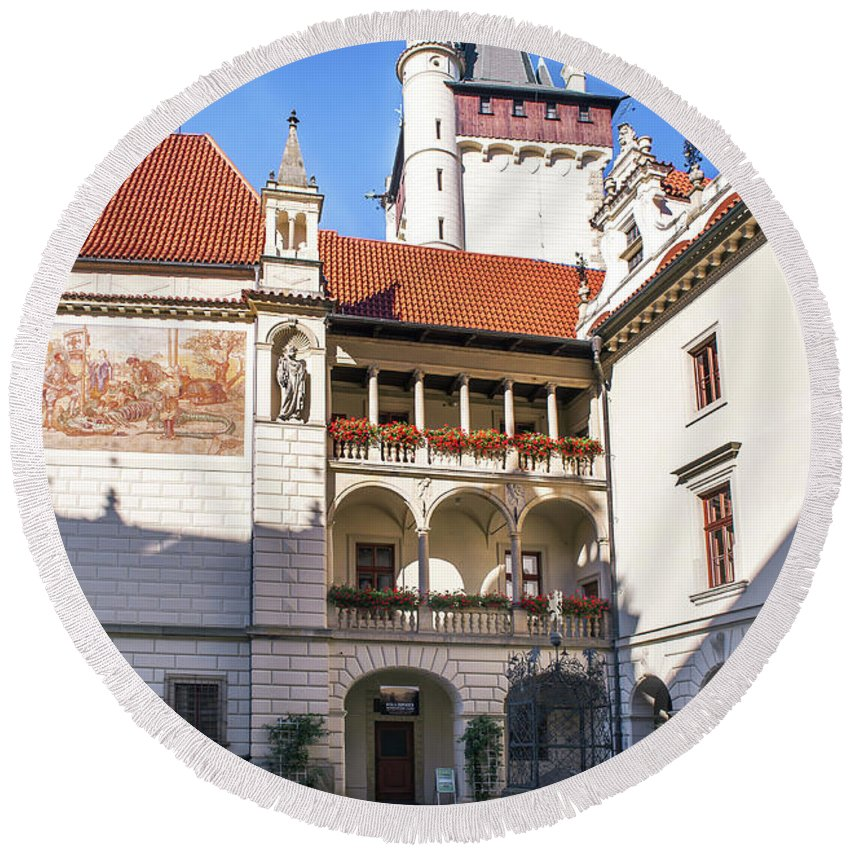 Jenny Rainbow Fine Art Photography Round Beach Towel featuring the photograph Pruhonice Castle Architecture by Jenny Rainbow