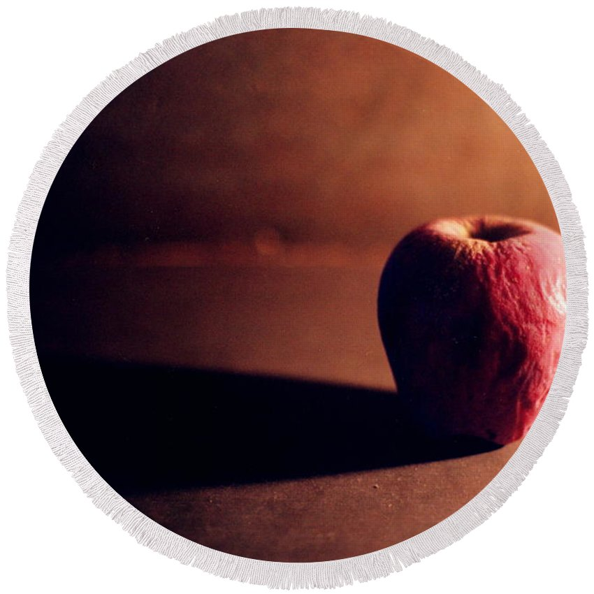 Shriveled Round Beach Towel featuring the photograph Pruned Apple Still Life by Michelle Calkins