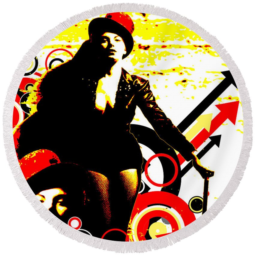 Nostalgic Seduction Round Beach Towel featuring the digital art Prurient Performer by Chris Andruskiewicz